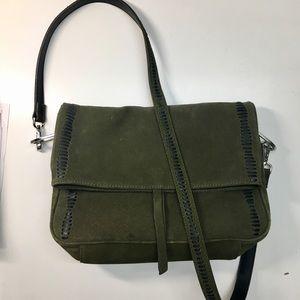 Zara U-ring army green suede crossbody bag